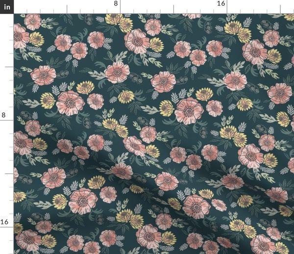 Sierra Floral Block Print Floral Fabri Spoonflower