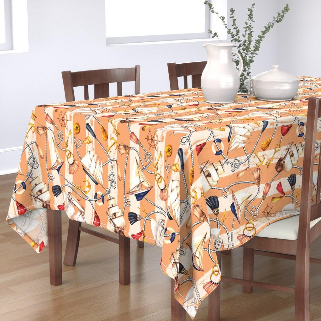 Bantam Rectangular Tablecloth featuring Set Sail! - Orange by dorinus_illustrations