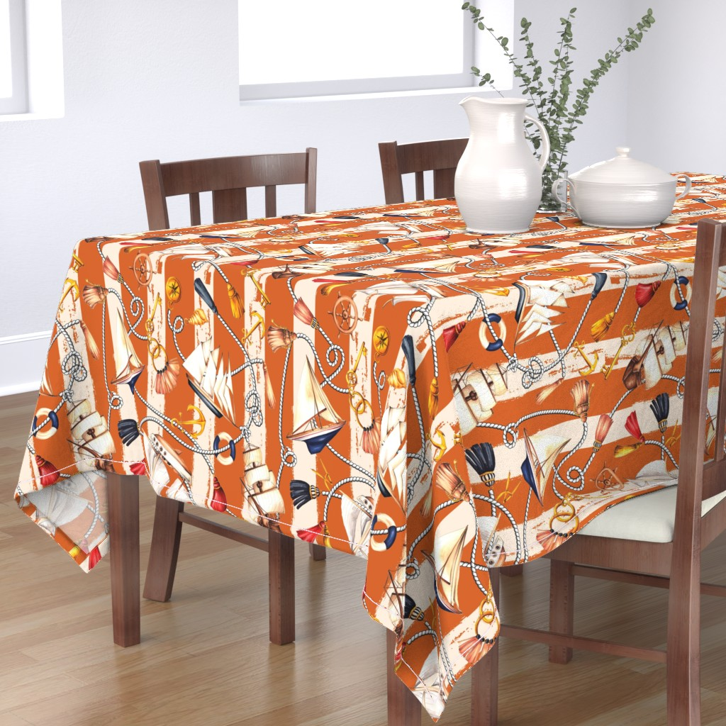 Bantam Rectangular Tablecloth featuring Set Sail! - Rusty Orange by dorinus_illustrations
