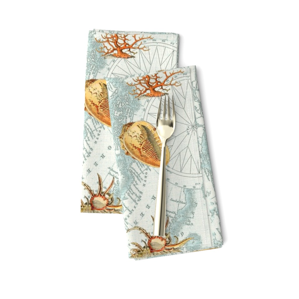 Amarela Dinner Napkins featuring Nautical Map w  Sea Shells by mypetalpress