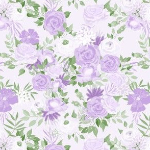 Vintage Purple Flowers Painted Watercolour Garden Pattern