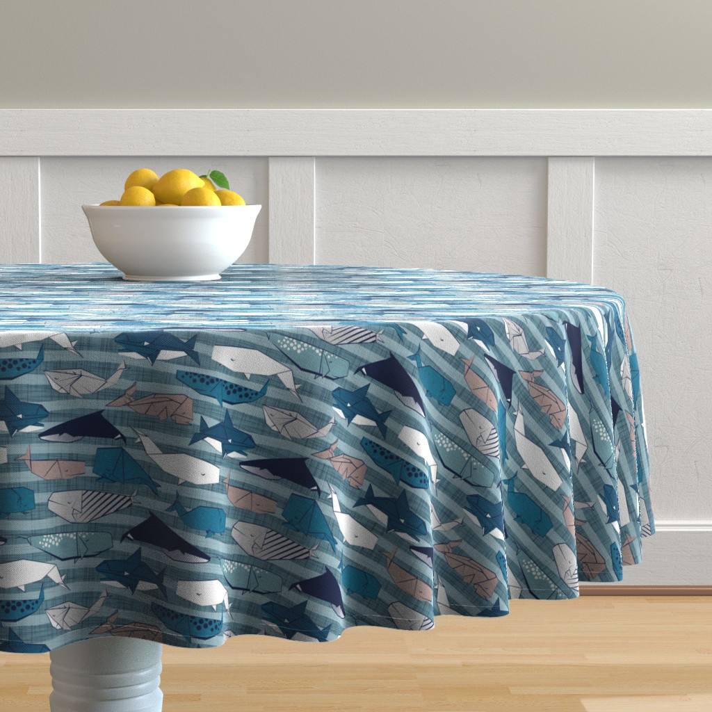 Malay Round Tablecloth featuring Origami Sea // small scale // linen texture and nautical stripes background teal white and taupe whales by selmacardoso