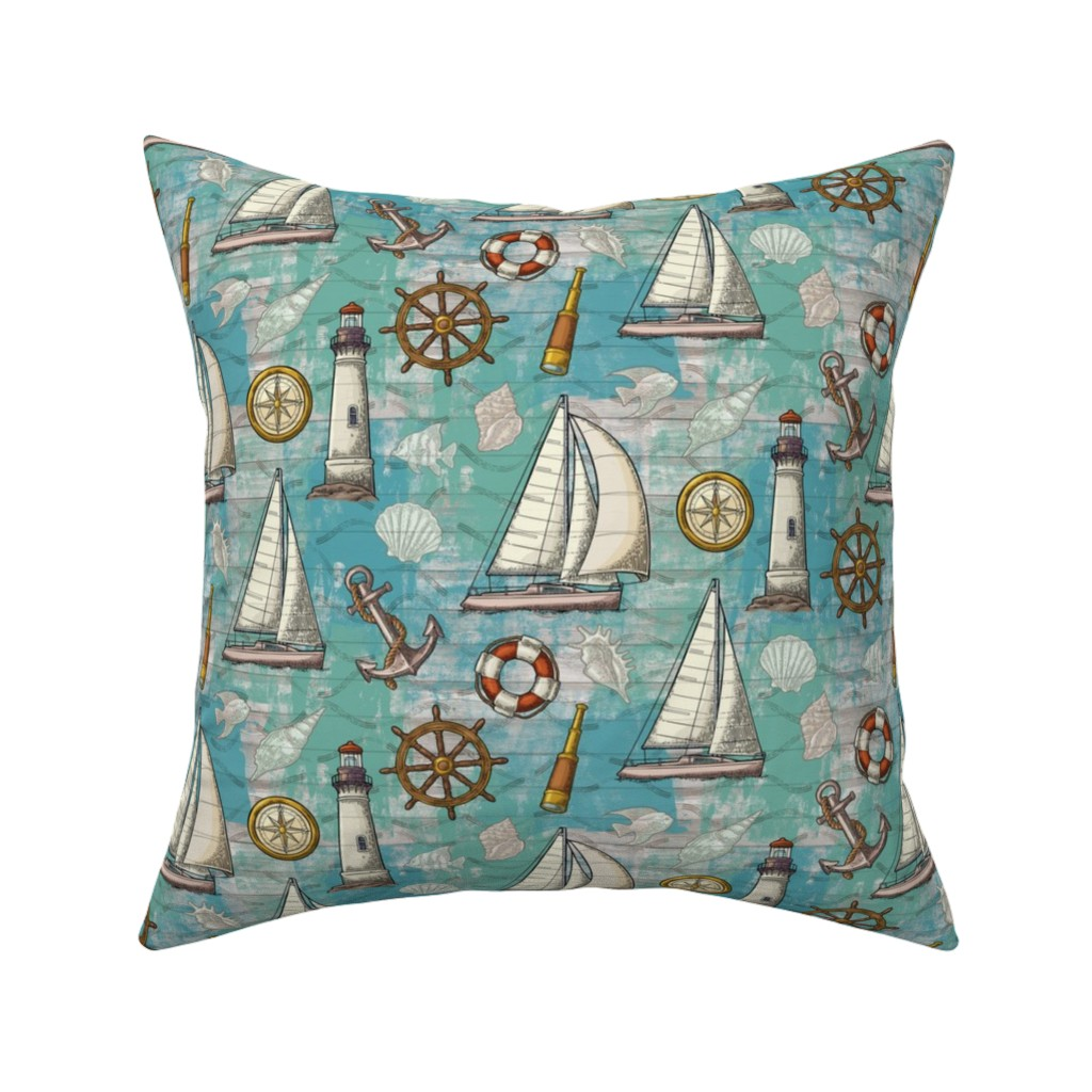Catalan Throw Pillow featuring Nautical Challenge by malibu_creative