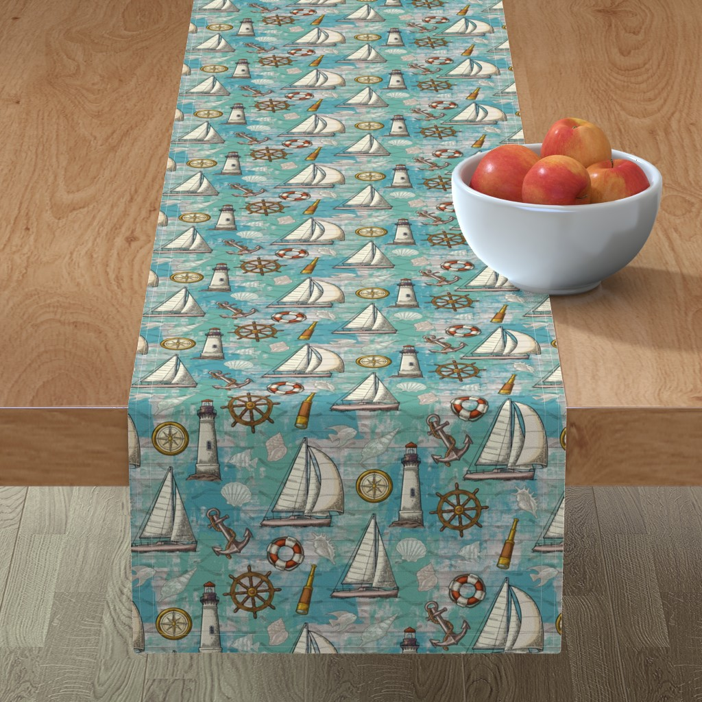 Minorca Table Runner featuring Nautical Challenge by malibu_creative