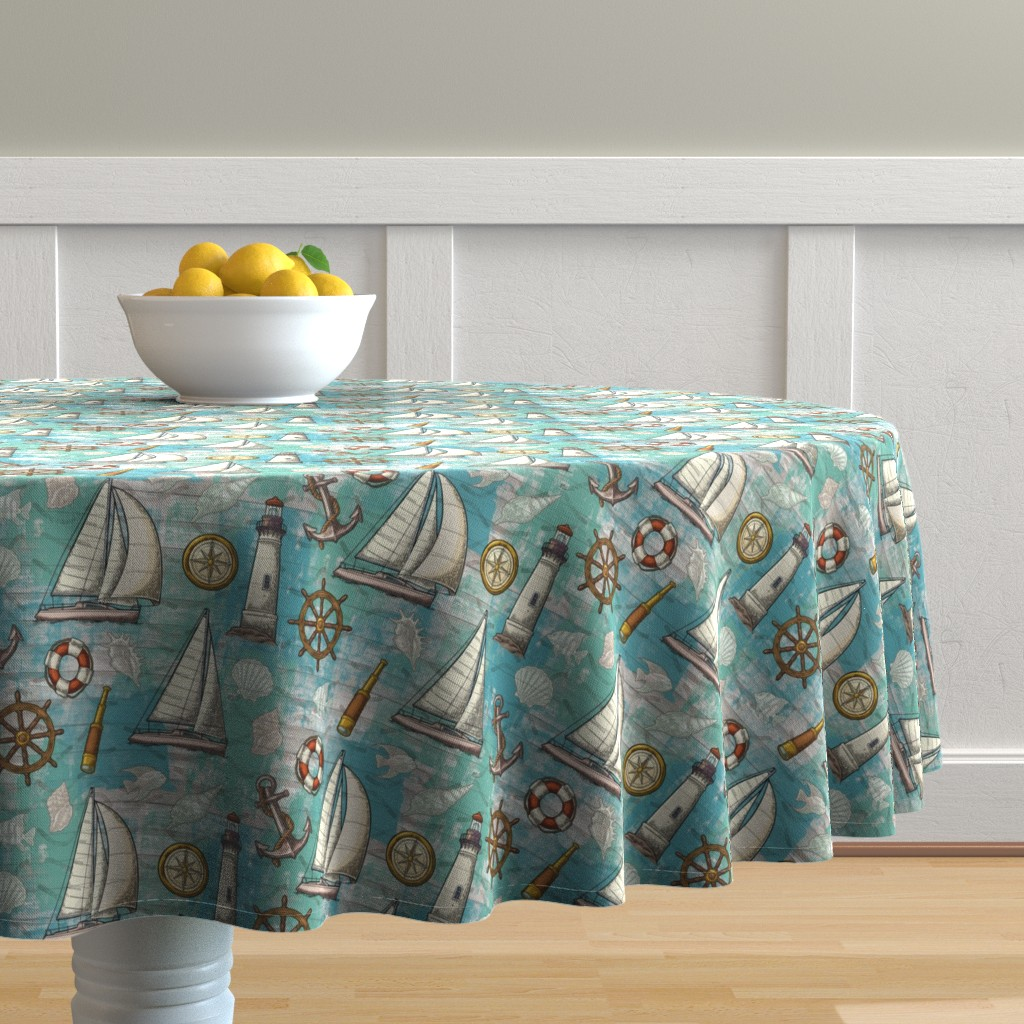 Malay Round Tablecloth featuring Nautical Challenge by malibu_creative