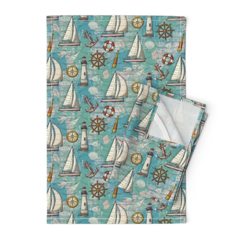 Orpington Tea Towels featuring Nautical Challenge by malibu_creative