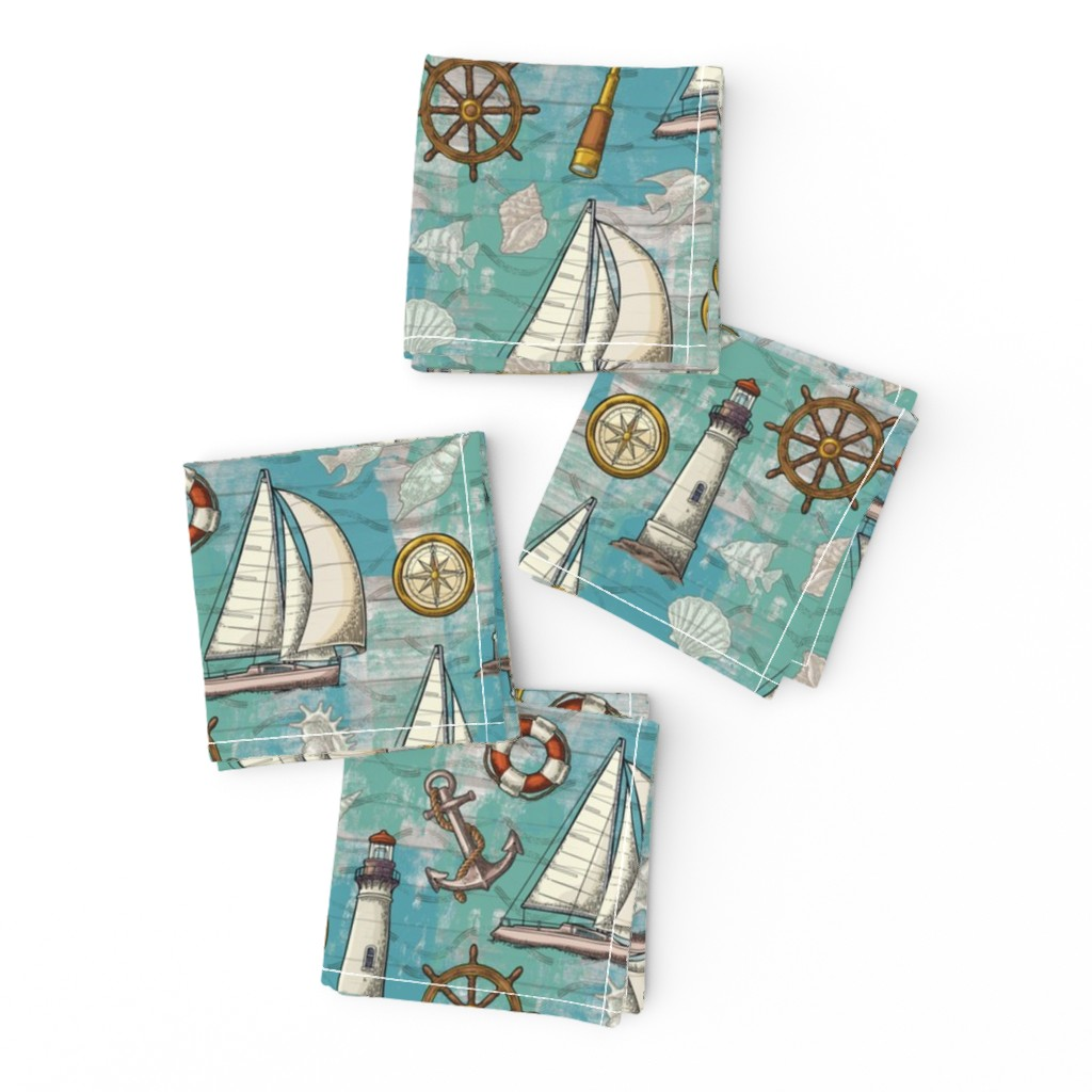 Frizzle Cocktail Napkins featuring Nautical Challenge by malibu_creative