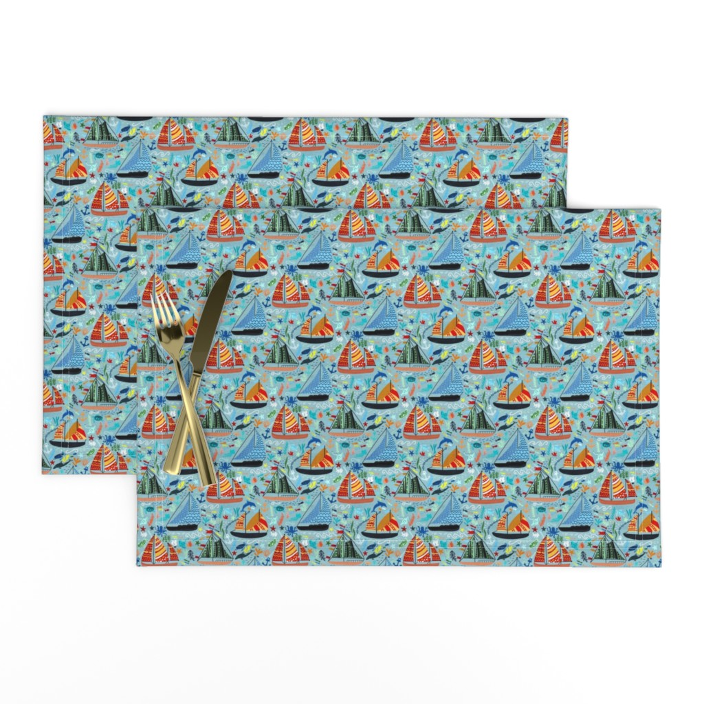 Lamona Cloth Placemats featuring Show Boats  by tigatiga