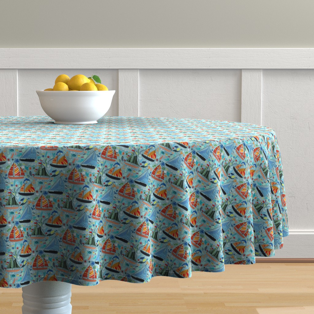 Malay Round Tablecloth featuring Show Boats  by tigatiga