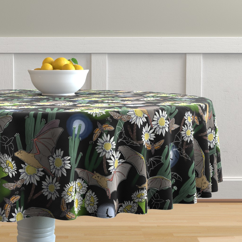 Malay Round Tablecloth featuring Night Pollinators 2 by vinpauld