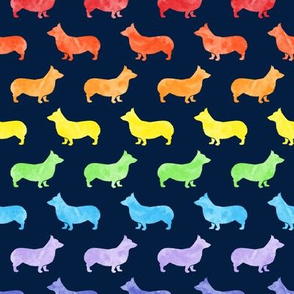 watercolor corgi - Pembroke Welsh Corgi dog breed - rainbow on navy - LAD19