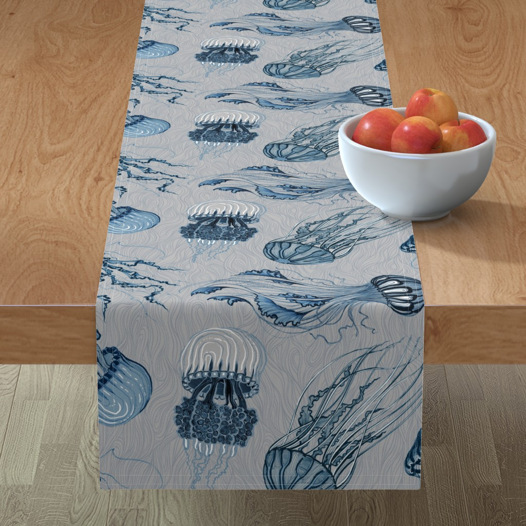 Minorca Table Runner featuring jellyfish by torysevas