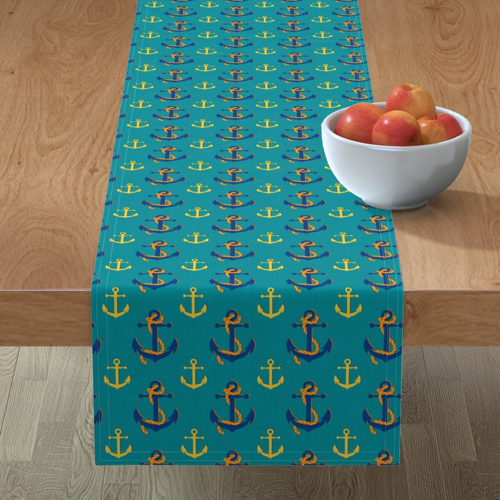 Minorca Table Runner featuring Nautical Anchor (Turquoise) by vannina