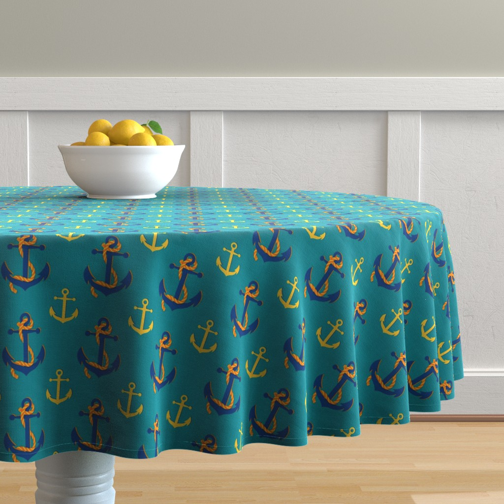 Malay Round Tablecloth featuring Nautical Anchor (Turquoise) by vannina