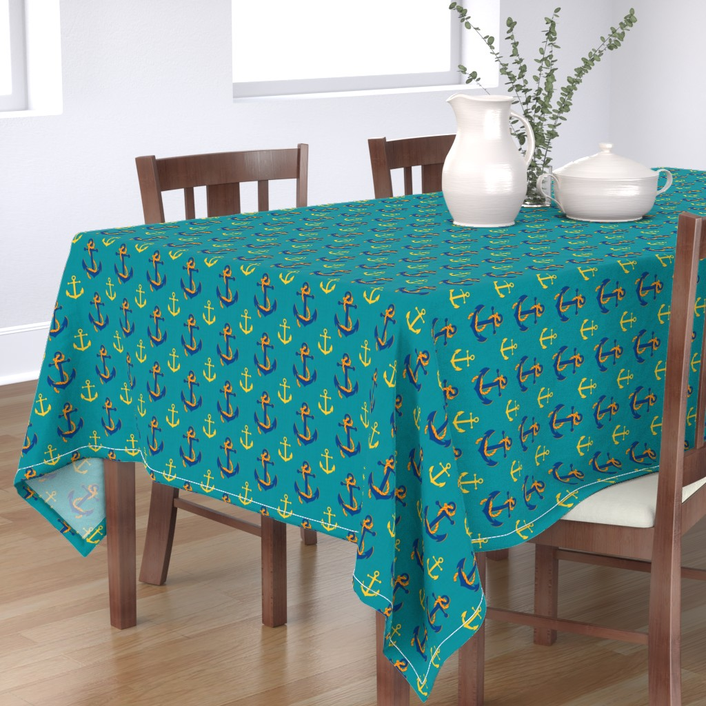 Bantam Rectangular Tablecloth featuring Nautical Anchor (Turquoise) by vannina