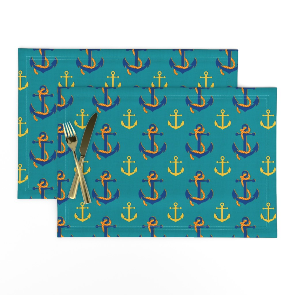 Lamona Cloth Placemats featuring Nautical Anchor (Turquoise) by vannina