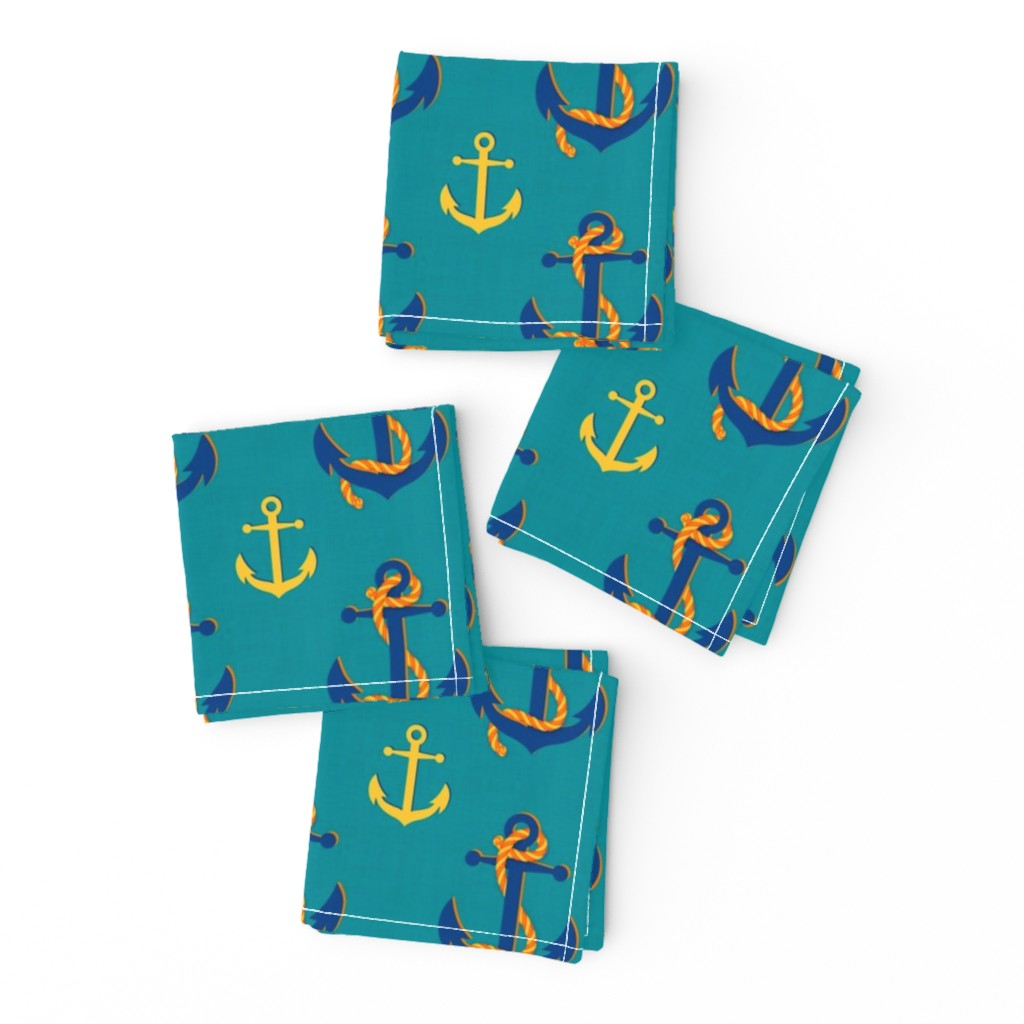 Frizzle Cocktail Napkins featuring Nautical Anchor (Turquoise) by vannina