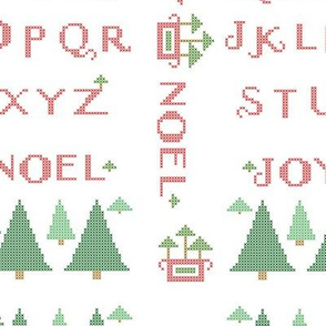 Noel Tree Winter Cross Stitch Alphabet Sampler