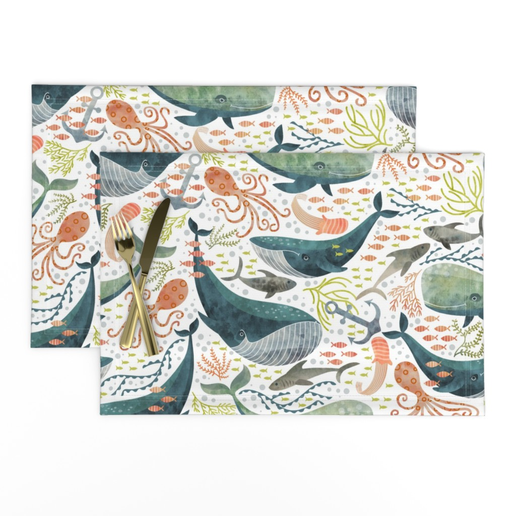Lamona Cloth Placemats featuring nautical sea by cjldesigns