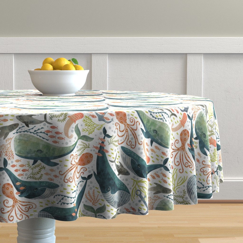 Malay Round Tablecloth featuring nautical sea by cjldesigns