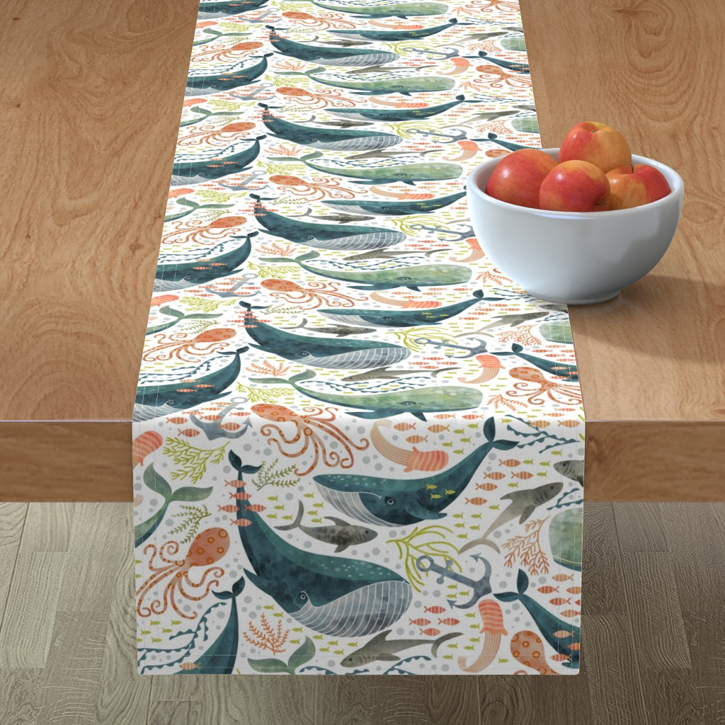 Minorca Table Runner featuring nautical sea by cjldesigns