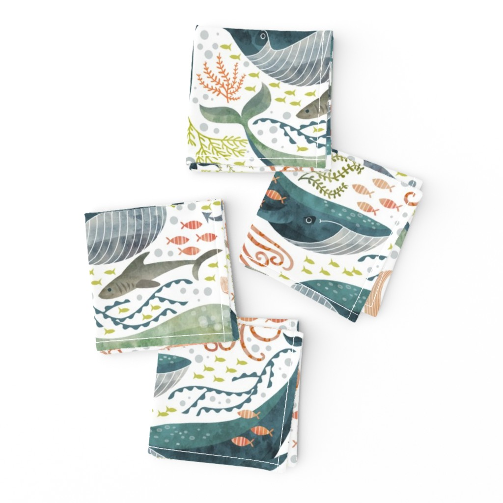 Frizzle Cocktail Napkins featuring nautical sea by cjldesigns