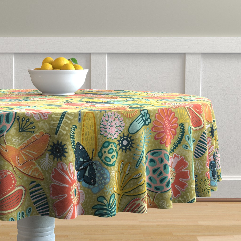 Malay Round Tablecloth featuring Microscopic Pollen Patterns. by slumbermonkey