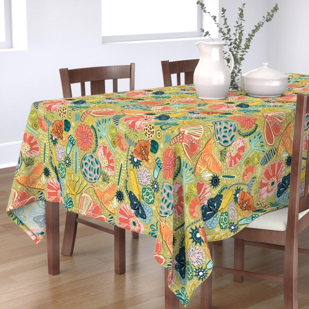Bantam Rectangular Tablecloth featuring Microscopic Pollen Patterns. by slumbermonkey