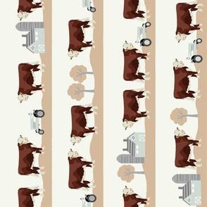 Hereford farm cow pattern cute farm animals beige