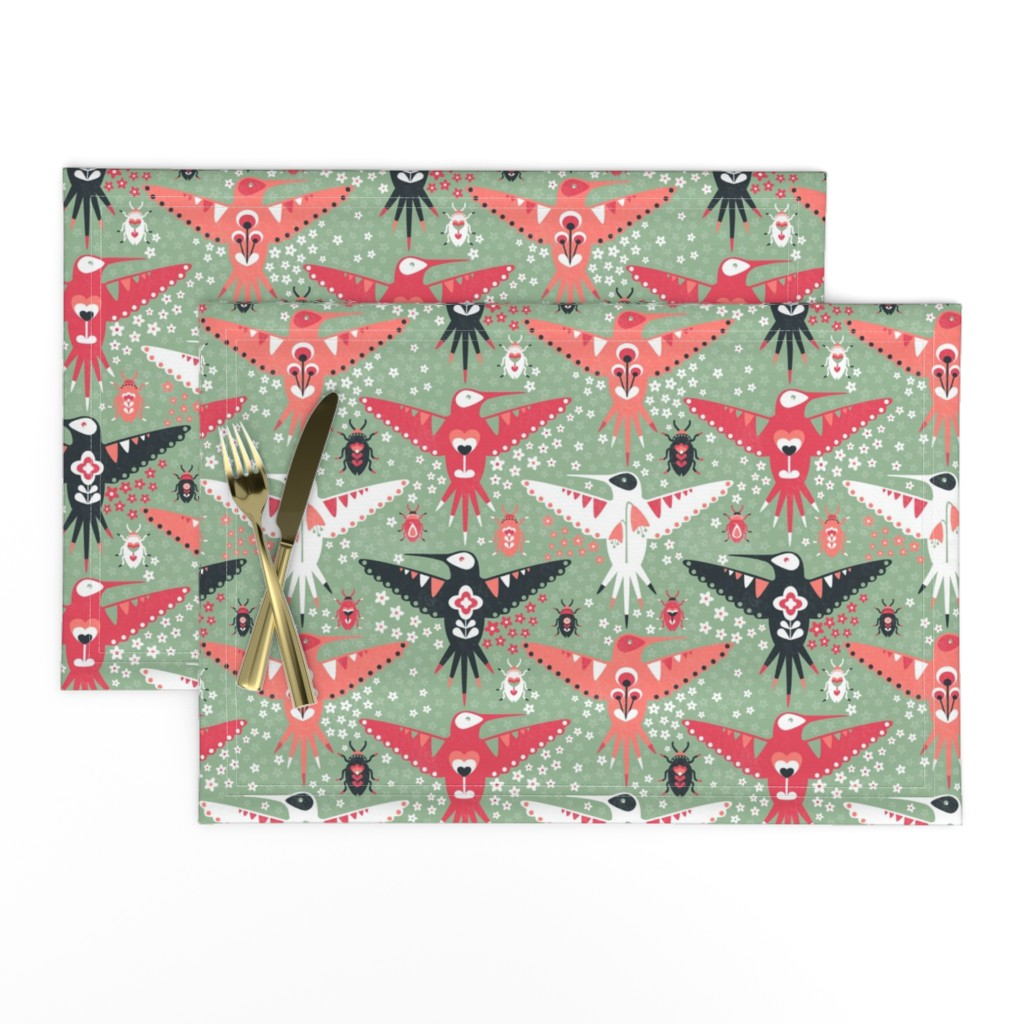 Lamona Cloth Placemats featuring Hummingbirds and Beatles by sarahparr