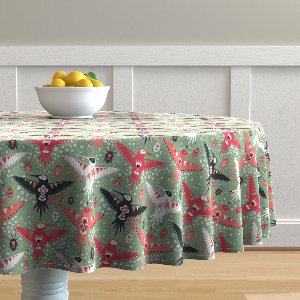 Malay Round Tablecloth featuring Hummingbirds and Beatles by sarahparr