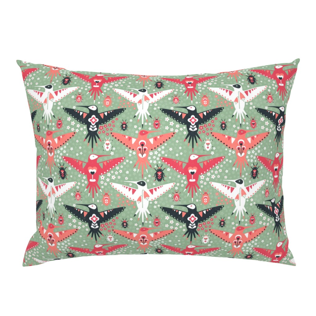 Campine Pillow Sham featuring Hummingbirds and Beatles by sarahparr