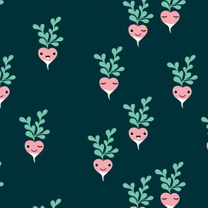 Cute little radish kawaii vegetable garden spring kids teal mint pink