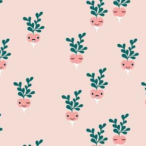 Cute little radish kawaii vegetable garden spring kids teal peach nude pink