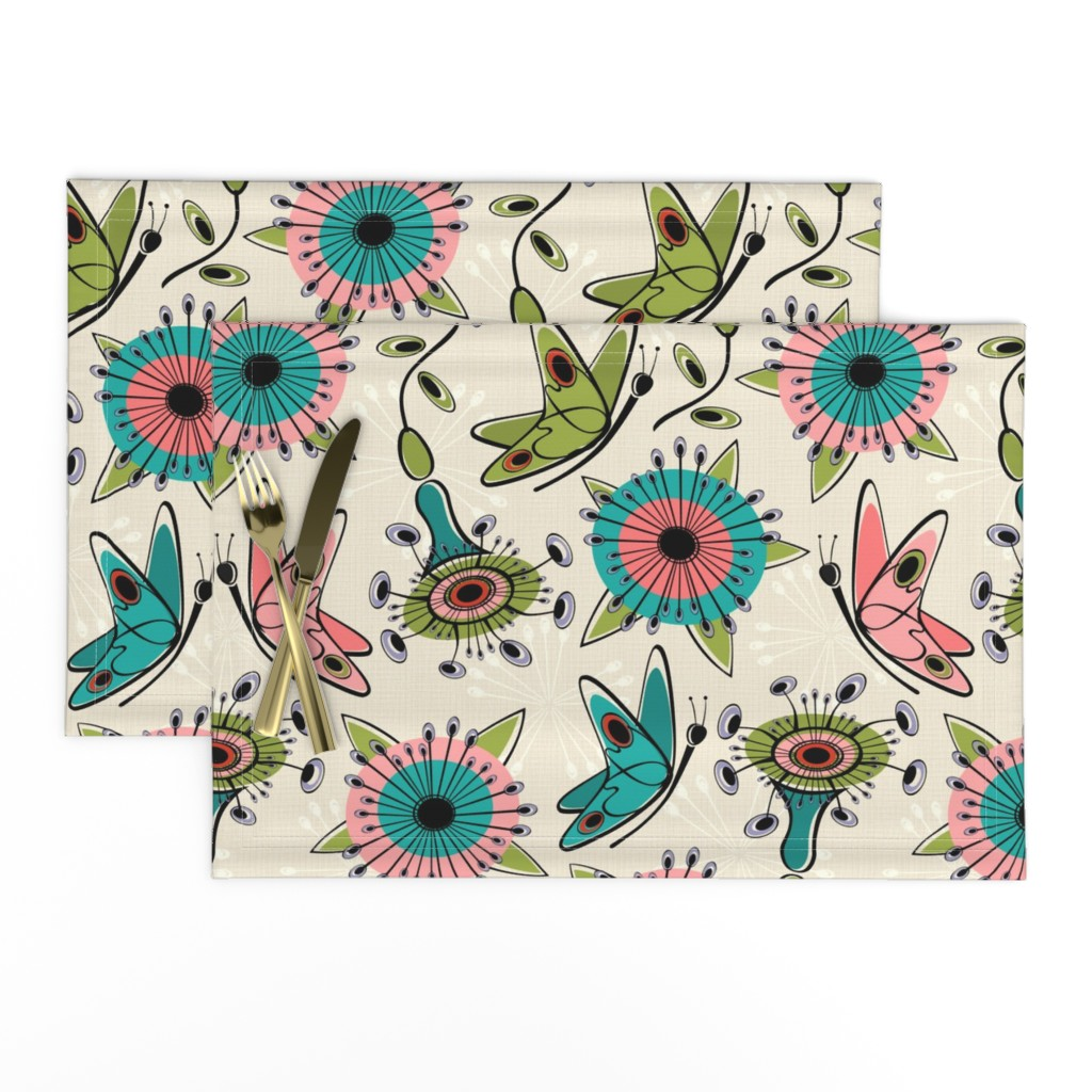 Lamona Cloth Placemats featuring Mod Butterflies and Flowers by studioxtine