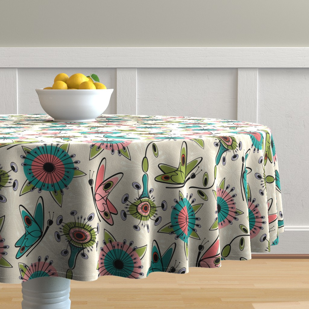 Malay Round Tablecloth featuring Mod Butterflies and Flowers by studioxtine
