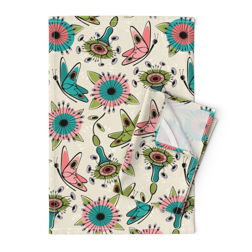 Orpington Tea Towels featuring Mod Butterflies and Flowers by studioxtine