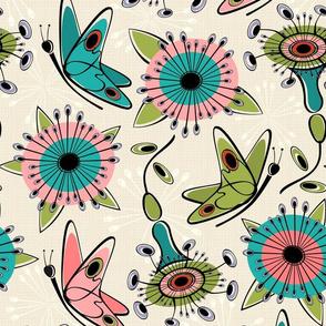 Mod Butterflies and Flowers