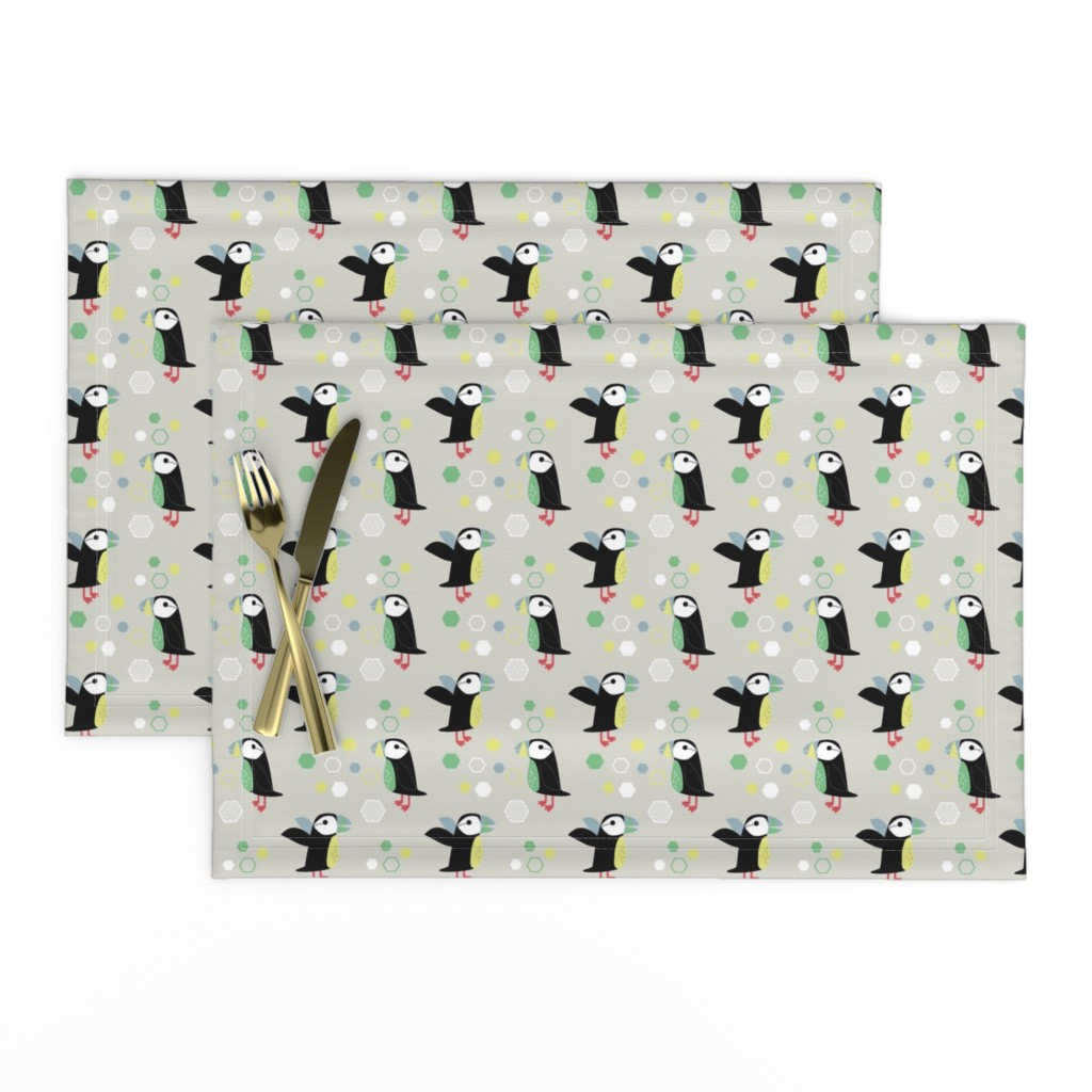Lamona Cloth Placemats featuring puffin-03 by kaeselotti