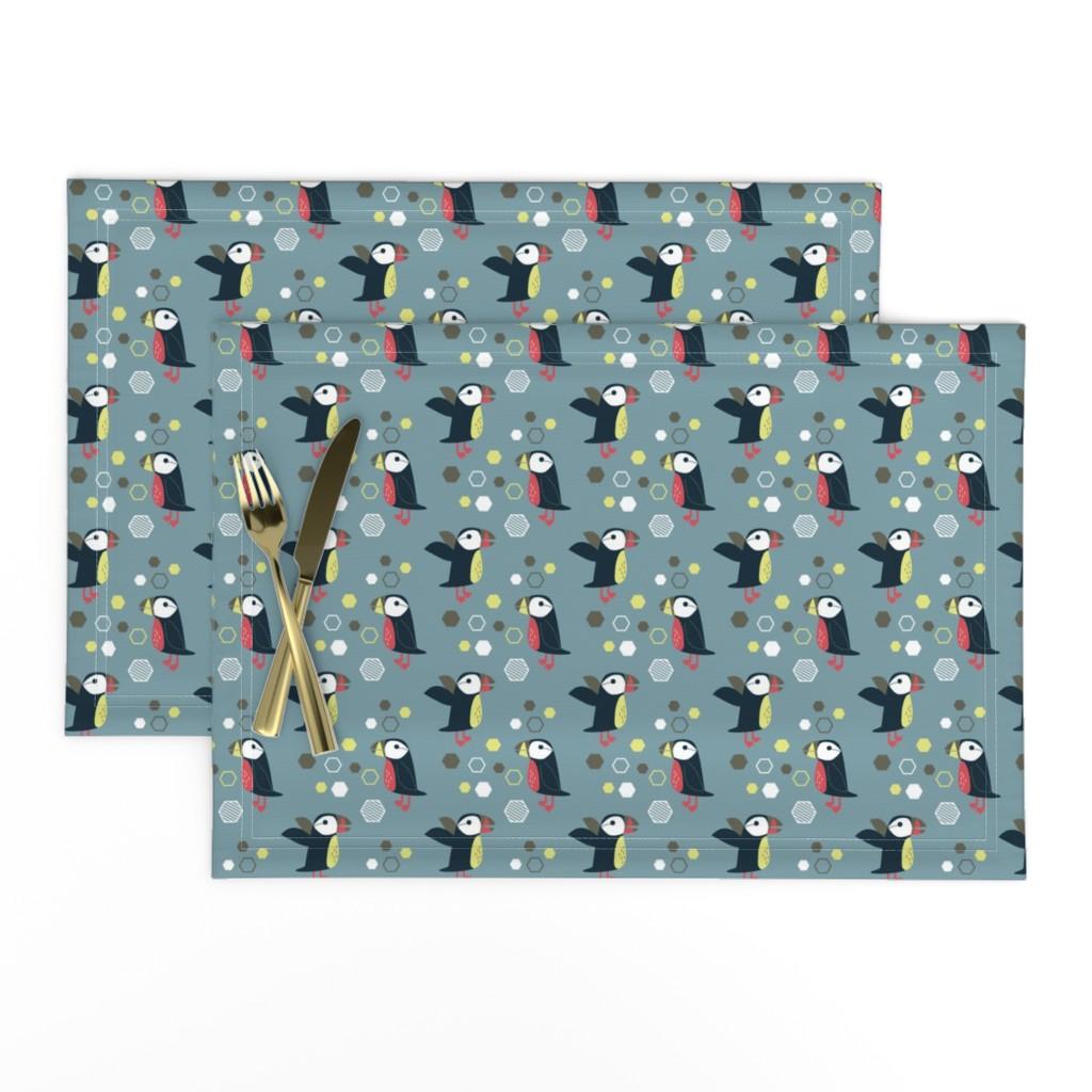 Lamona Cloth Placemats featuring puffin-05 by kaeselotti
