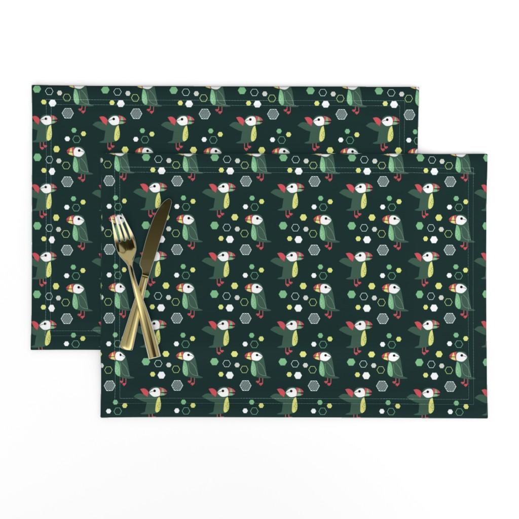 Lamona Cloth Placemats featuring puffin-06 by kaeselotti