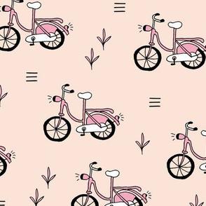 Little bicycle ride summer garden bike design nude pink peach