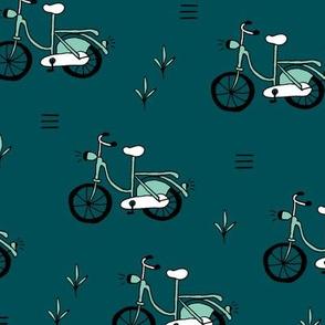 Little bicycle ride summer garden bike design teal mint