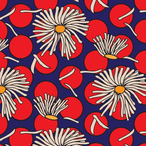 red dots and daisies