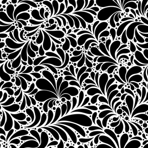 Damask Teardrop Black Ornament, seamless pattern
