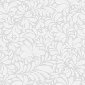 Damask Teardrop White Ornament, seamless pattern