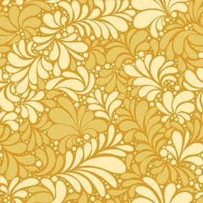 Paisley or Damask Golden Floral