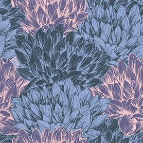 Peony Flower Seamless Vector Pattern