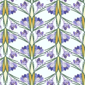 Spring Crocus Flowers in Rain, Herringbone Pattern in Purple and Yellow