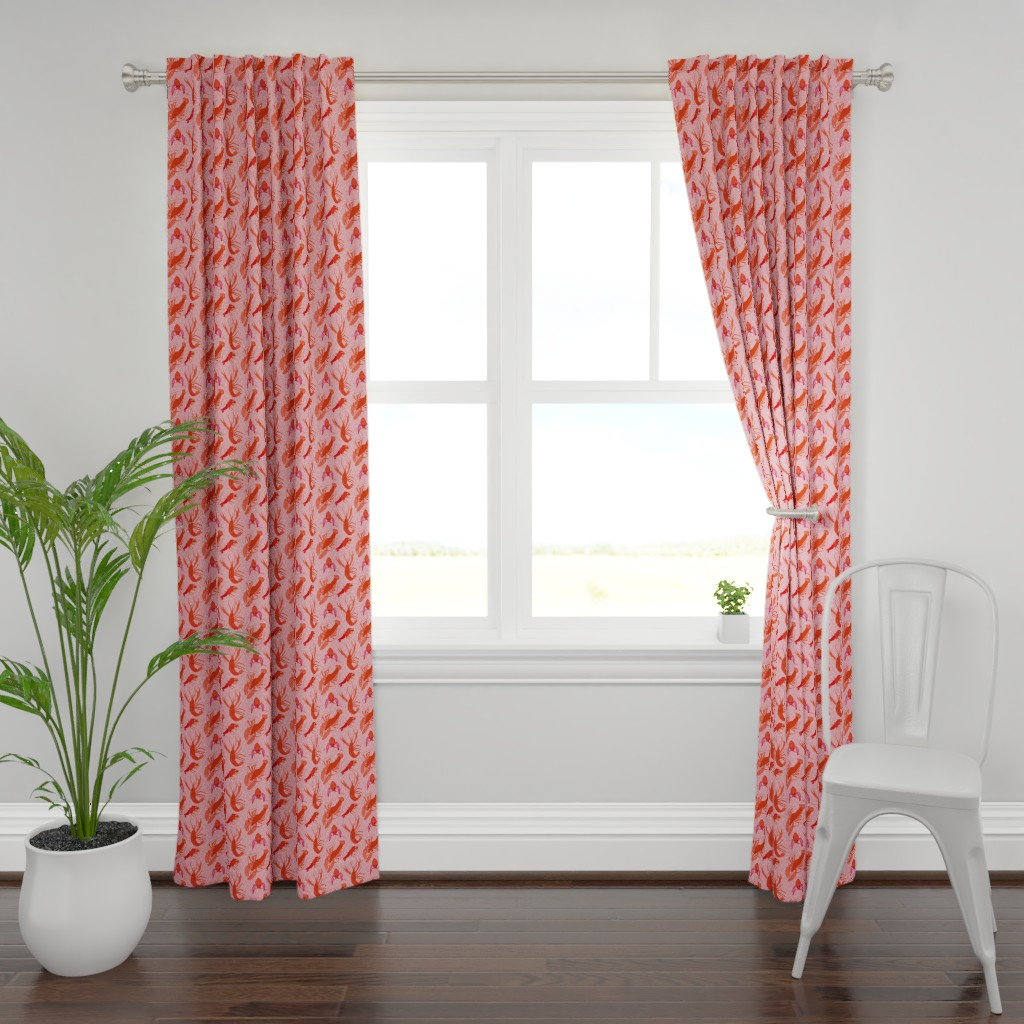 Plymouth Curtain Panel featuring Catchin' Cajun Crawfish in Coral  by elliottdesignfactory